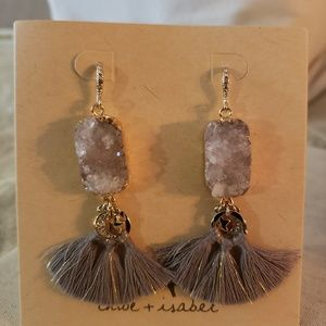 Dreams of Provence Tassel Earrings - Grey